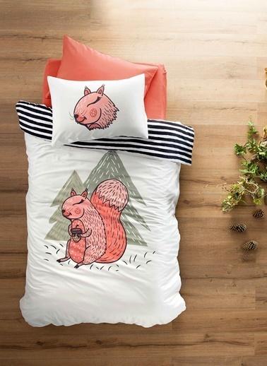 Hibboux 160x220 Lovely Squirrel Saten Nevresim + Yastık Kılıfı Renkli